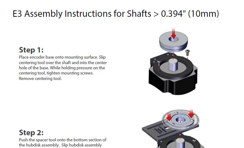 E3 Assembly Instructions for Shafts > to 10mm