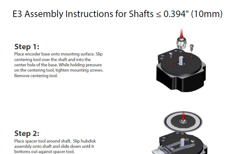 E3 Assembly Instructions for Shafts <= to 10mm