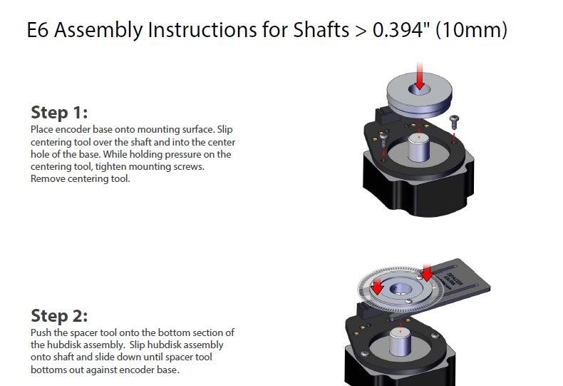 E6 Assembly Instructions for Shafts > to 10mm