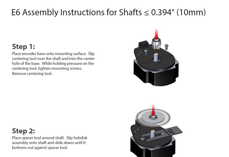 E6 Assembly Instructions for Shafts <= to 10mm