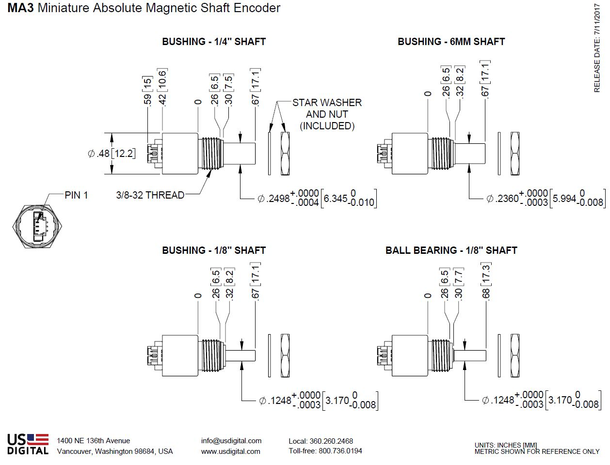 US Digital® | Products » MA3 Miniature Absolute Magnetic Shaft Encoder