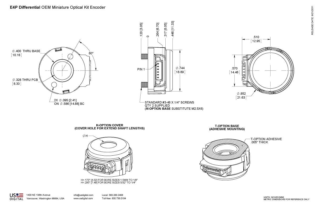 US Digital® | Products » E4P OEM Miniature Optical Kit