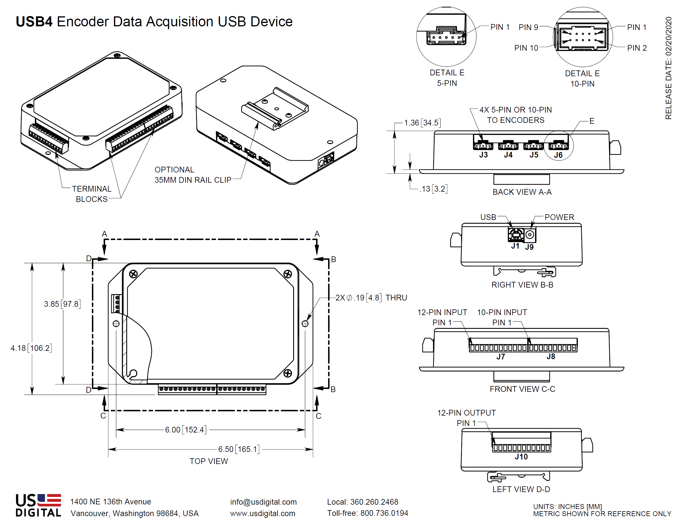 Us Digital Products Usb4 Encoder Data Acquisition Usb Device 4 2 Logic Diagram Downloads