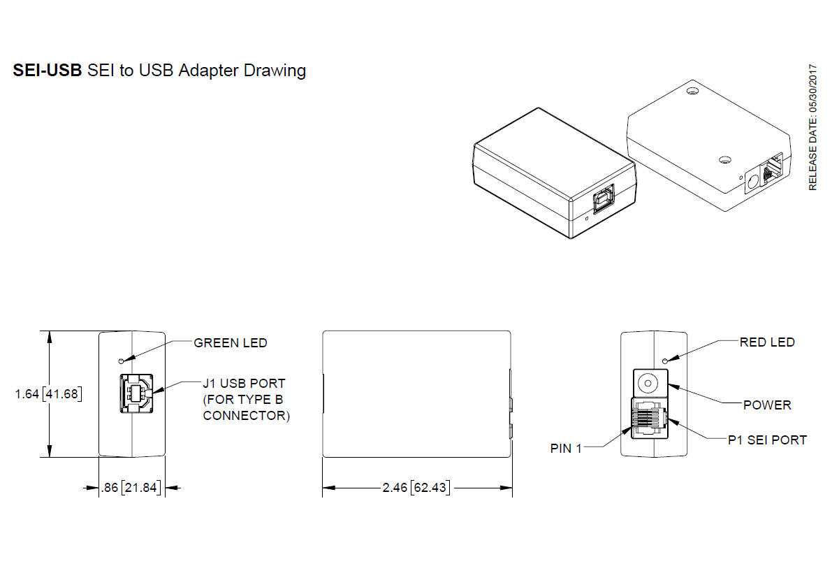 Us Digital Products Sei Usb To Adapter 7 Pin Wiring Schematic Photos Mechanical Drawings