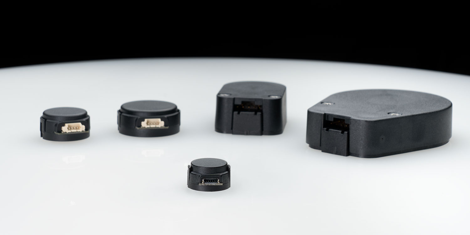 The new E16 encoder, shown in front center, is the newest in US Digitals line of optical kit encoders.